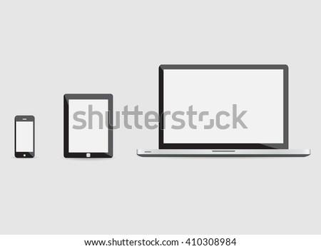 laptop smartphone tablet mockup. laptop smartphone tablet mockup UI. laptop smartphone tablet mockup ART laptop smartphone tablet AI. laptop smartphone tablet mockup 3D laptop smartphone tablet mockup - stock vector