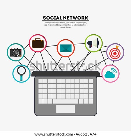laptop social network media multimedia icon set. Colorfull illustration. Vector graphic