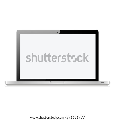Laptop in macbook style gray color with blank touch screen isolated on white background vector illustration