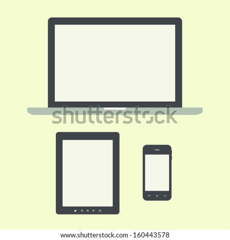 laptop, tablet computer and smartphone flat design template elements for web and mobile applications - stock vector