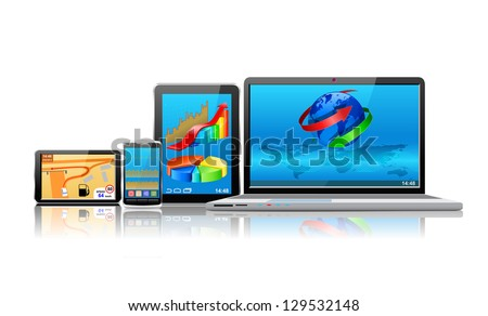 Laptop, tablet pc, mobile phone and navigator are shown in the image.