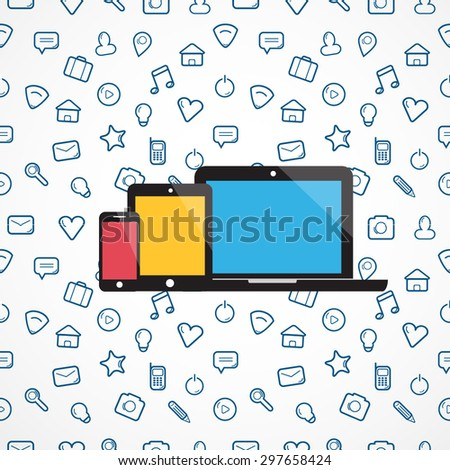 Laptop, tablet, phone icons for your business