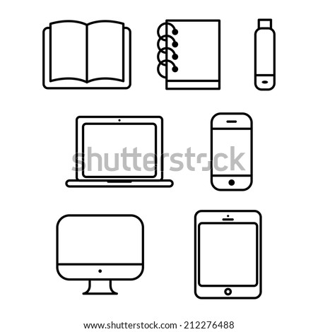 laptop tablet vector computer book flash phone - stock vector