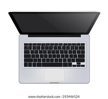 Laptop Top View - stock vector