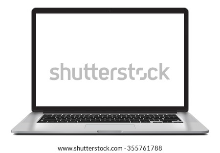 Laptop vector illustration with blank screen isolated on white background, white aluminium body. - stock vector