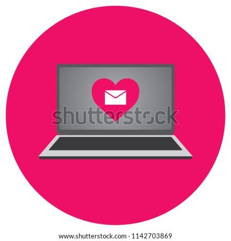 Laptop Vector Illustration Heart Message Symbol Stock Vector