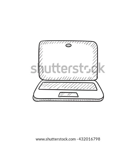 Laptop vector sketch icon isolated on background. Hand drawn Laptop icon. Laptop sketch icon for infographic, website or app. - stock vector