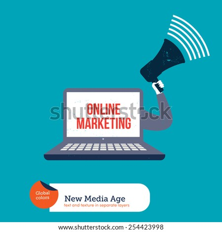 Laptop with a megaphone promoting online marketing. Vector illustration Eps10 file. Global colors. Text and Texture in separate layers. - stock vector