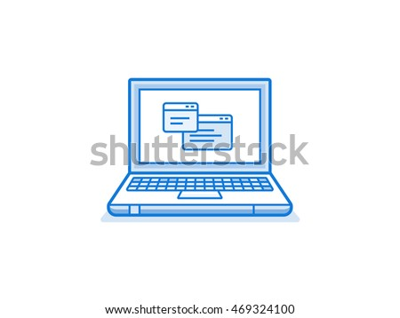 Laptop with application windows. Vector icon of laptop in linear style