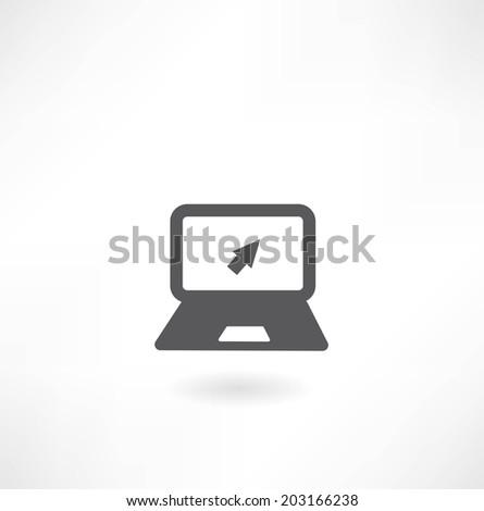 Laptop with arrow icon - stock vector