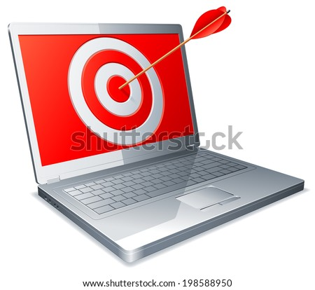 Laptop with arrow in a screen. - stock vector