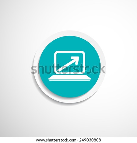 Laptop with arrow pointing up from the blank screen - stock vector