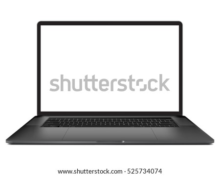 Laptop with blank screen isolated on white background, black aluminium body. vector eps 10 illustration template