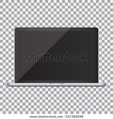 Laptop with blank screen on a transparent background