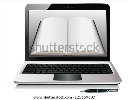 Laptop with books   isolated on white