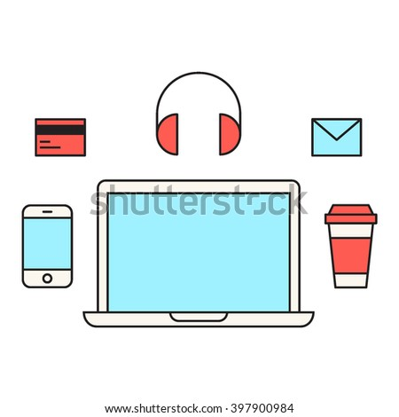 Laptop with coffee cup, smartphone, headphone, credit card, mail vector flat icon design on white background. Element for logo. Freelance work space. - stock vector