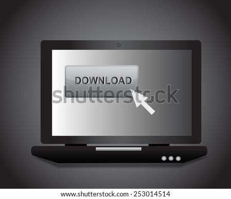 Laptop with download icon with black background - stock vector