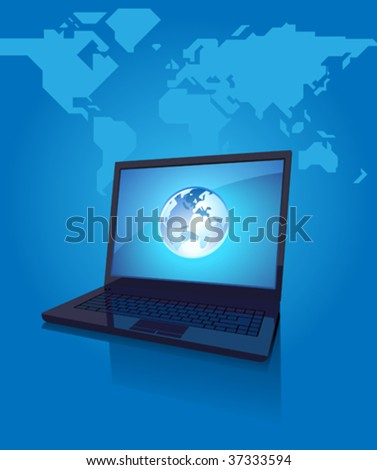 Laptop with globe on screen. Blue background with map of the World. Vector illustration.