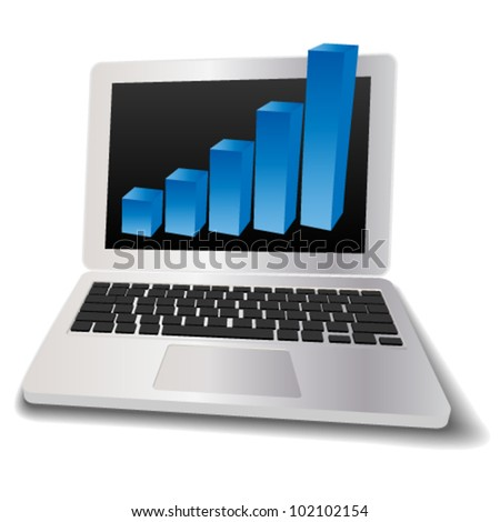 Laptop with graph, profit concept. Vector illustration
