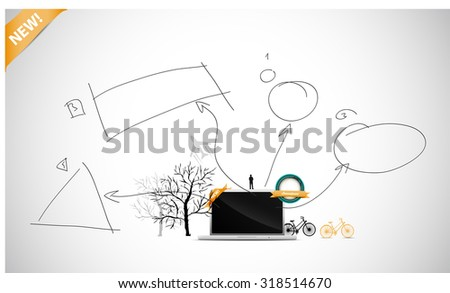 Laptop with hand drawn infographic - stock vector