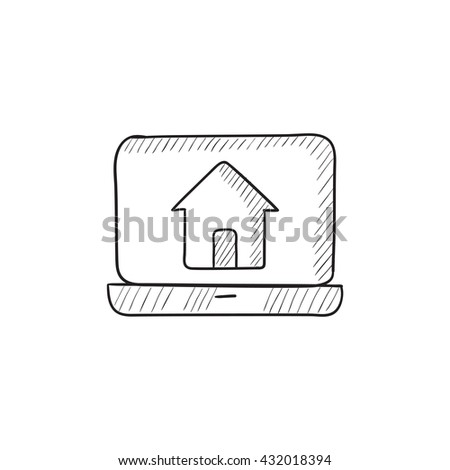 Laptop with home on the screen vector sketch icon isolated on background. Hand drawn Laptop with home on the screen icon. Laptop with home on the screen sketch icon for infographic, website or app. - stock vector