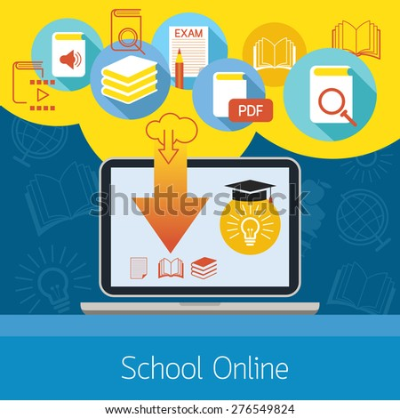 Laptop with Icons, School Online E-Learning Concept, Education, E-Book, Study - stock vector