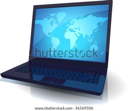 Laptop with map of the World on blue screen. Vector illustration.