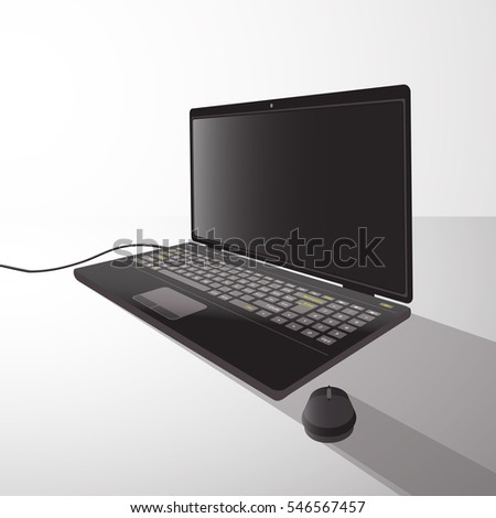 laptop with mouse from side illustration on isolated background. FOR USE design, decoration, printing, smart phone, website, etc.