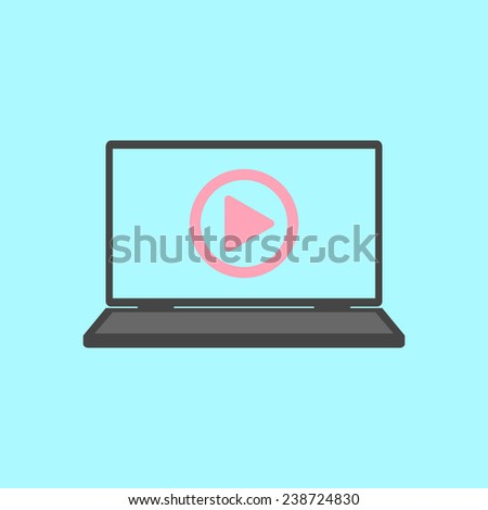 laptop with play icon. flat design modern vector illustration - stock vector