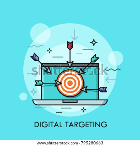 Laptop with shooting target with arrows on screen. Concept of digital targeting, online marketing strategy, business aim or goal. Modern vector illustration for banner, website, poster, advertisement.