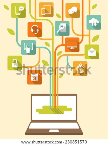 Laptop with stylized tree, consisting of social, media, web icons - stock vector