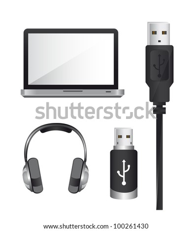 laptop with usb plug and headphones over white background. vector - stock vector