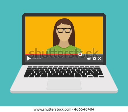 Laptop with video online webinar on the screen. Vector flat illustration.