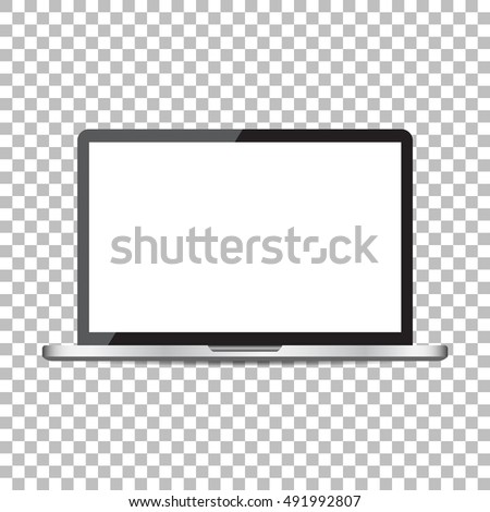 Laptop with white screen flat icon. Computer vector illustration on isolated background.