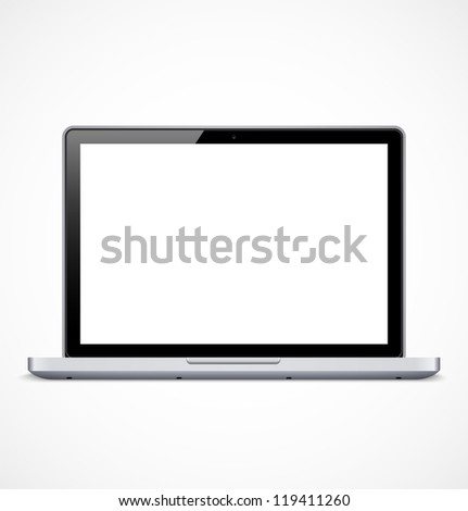 Laptop with white screen. Vector illustration - stock vector