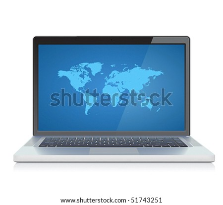 Laptop with World map on screen. Vector illustration.