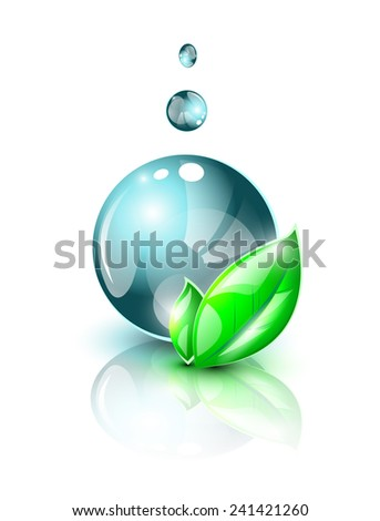 Large abstract blue water droplet with green leaves EPS 10 - stock vector