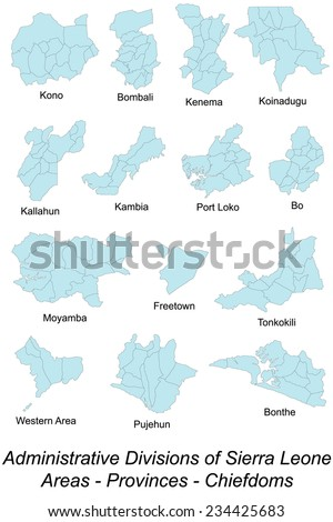 Large and detailed area maps of Sierra Leone with chiefdoms.