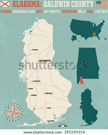 Large Detailed Map Calhoun County Alabama Stock Vector 621346961