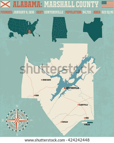 Large and detailed map and infos about Marshall County in Alabama - stock vector