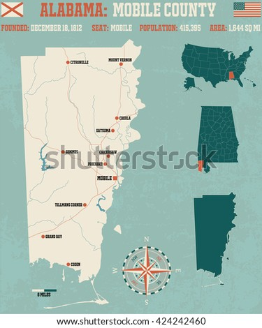 Large and detailed map and infos about Mobile County in Alabama - stock vector