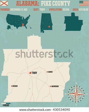 Large and detailed map and infos about Pike County in Alabama - stock vector