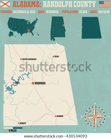 Large and detailed map and infos about Randolph County in Alabama