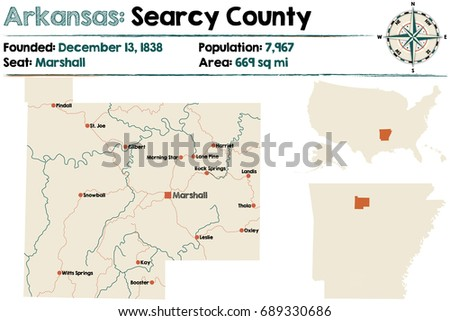 Large Detailed Map Arkansas Searcy County Stock Vector 689330686 ...
