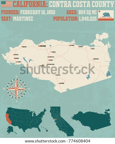 Large Detailed Map Crawford County Arkansas Stock Vector 675880966