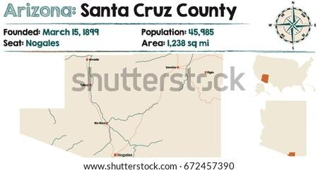 Large Detailed Map Santa Cruz County Stock Vector 672457390 ...