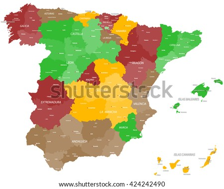 Large and detailed map of Spain