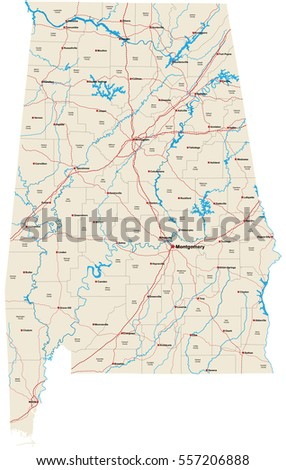 Mississippi Road Map Stock Vector Shutterstock - Detailed map of alabama
