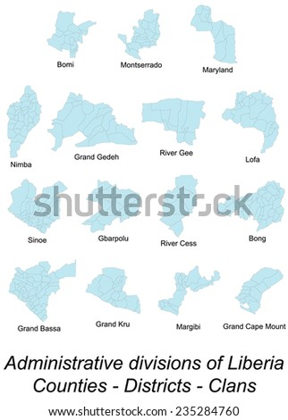 Large Detailed Maps All Local Counties Stock Vector 2018 235284760