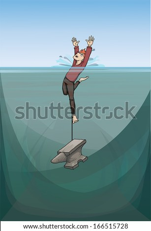 Large and heavy anvil pulls man down to the bottom, vector illustration - stock vector